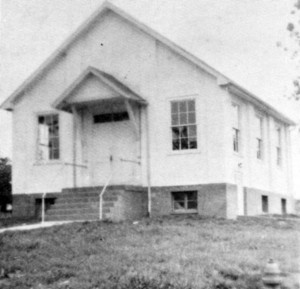 Ridgeway's first church building, 1948.