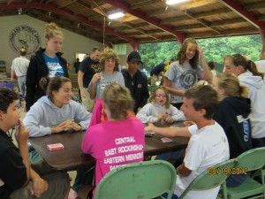 Youth play games at our Annual Campout